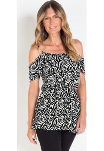 Blusa Animal Print Zebra Preta