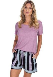 Pijama Curto Com Bolso Listrado Feminino - Feminino-Rosê