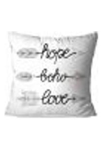 Capa De Almofada Avulsa Decorativa Hope Boho Love 35X35Cm