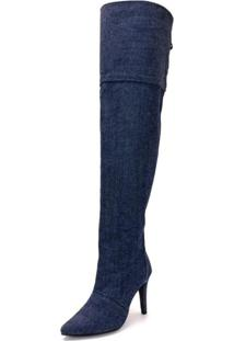 Bota Over Cano Alto Salto Fino Feminina Jeans