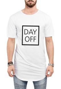 Camiseta Criativa Urbana Long Line Oversized Day Off - Masculino-Branco