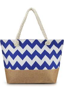 Bolsa De Praia Estampada Lisa Com Alça De Corda Jacki Design Azul Marinho Com Marrom