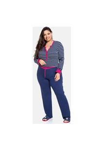 Conjunto Pijama Plus Size De Inverno Manga Longa Em Viscolycra Azul Com Listras Bello Sonhos Listrado
