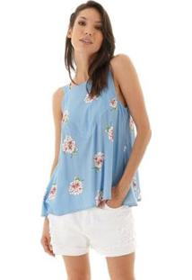 Blusa Aha Floral Nesgas E Listras Feminino - Feminino-Azul+Rosa