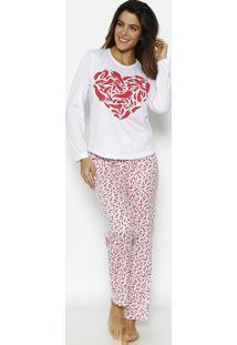 """Pijama """"Pimentas""""- Branco & Vermelho- Zulaizulai"""