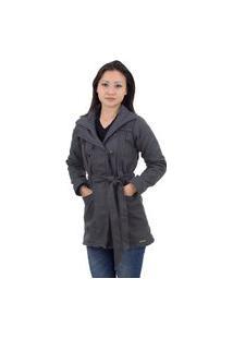 Casaco Feminino Trench Coat Lã Batida Grossa Forrado Inverno Cinza