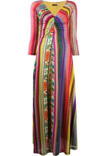 Etro Striped V-Neck Maxi Dress - Vermelho