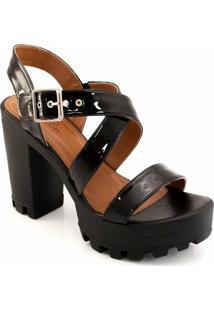 Sandalia Envernizada Tratorada Sapato Show 14002 - Feminino-Preto