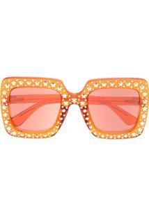 Gucci Eyewear Oversized Square Sunglasses - Laranja