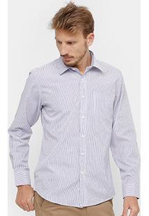 Camisa Social Blue Bay Listras Bolso Masculina - Masculino
