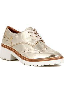 Sapato Oxford Feminino Metalizado Dourado