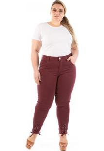 Calça Jeans Lace Up Pantacourt Plus Size Feminina - Feminino-Vinho