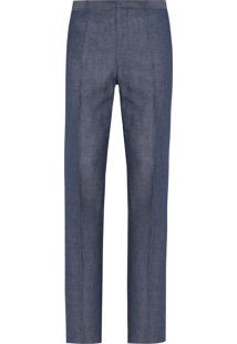 Calça Masculina Slim Avulsa De Linho - Azul