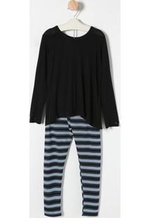 944b7ce8a ... Pijama Com Calça - Preto   Azul Claromonthal