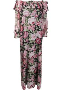P.A.R.O.S.H. Vestido Longo Com Estampa Floral - Rosa