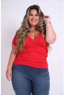 Blusa Kaue Plus Size Transpassada Franzidos Feminina - Feminino-Vermelho