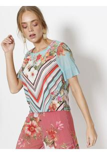 04f66cbb2 ... Blusa Maquinetada Floral- Verde Água & Verdedoce Trama