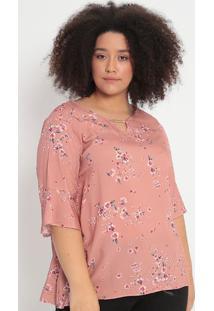 Blusa Floral- Rosê & Verde- Malweemalwee