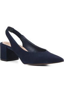 Scarpin Couro Shoestock Slingback Salto Baixo - Feminino-Marinho
