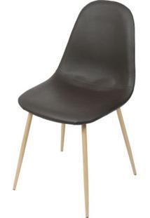 Cadeira Robin Assento Pu Cafe Com Base Metal Cor Madeira - 46509 - Sun House