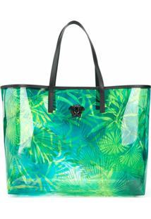Versace Bolsa Tote Com Estampa De Selva - Azul