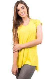 Blusa 4 Estações Sobre Legging Manga Curta Feminina - Feminino-Amarelo
