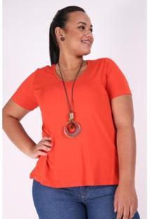 Blusa Kaue Plus Size T-Shirt Decote V Feminina - Feminino-Laranja