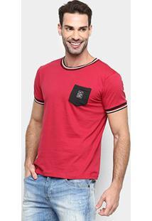 Camiseta Rg 518 Listras Gola & Manga Bolso Masculina - Masculino-Vermelho+Branco