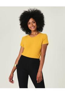 Blusa Canelada Em Viscose Malwee Amarelo - Gg