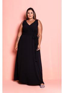 Vestido Longo Marina Black Plus Size Maria Rosa