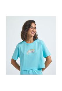 Blusa Cropped Manga Curta Estampa Happy Thoughts | Blue Steel | Azul | P