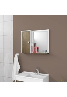 Espelheira Para Banheiro Móveis Bechara Gênova Branco E Madeira