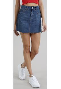 CEA. Saia Clock Azul Tom Escuro Zíper Algodão Jeans Com Lateral Desfiada  Barra Feminina Faixa acd2f5a738a