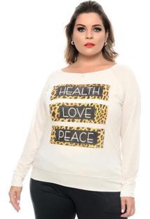 Blusa Onça Peace Branco Plus Size