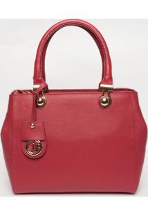 Bolsa Em Couro Com Bag Charm- Vermelha- 25X30X10Cmjorge Bischoff