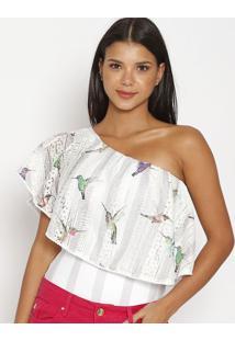 Body Floral Em Renda- Branco & Azulcarmen Steffens
