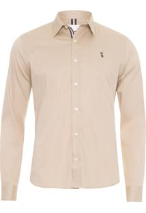 Camisa Masculina Strech Gorgurão - Bege
