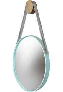 Espelho Button Moldura Cor Menta Com Alca Bege - 48650 Sun House
