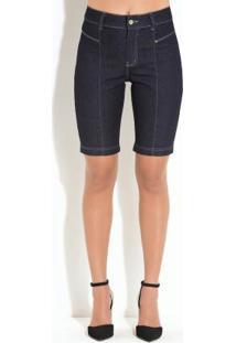 Bermuda Quintess Jeans Escuro Com Recortes
