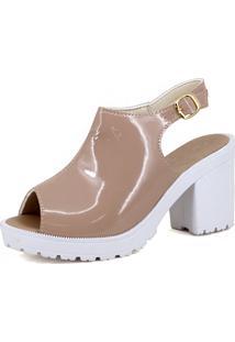 Sandália Salto Grosso Magi Shoes Meia Pata Nude