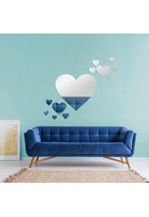 Espelho Love Decor Decorativo Kit Coraã§Ãµes ÚNico - Prata - Dafiti