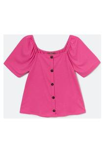 Blusa De Malha Canelada Com Botões E Decote Quadrado Curve E Plus Size Rosa