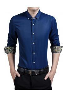 Camisa Masculina Slim Manga Longa Com Detalhe Floral - Azul Marinho
