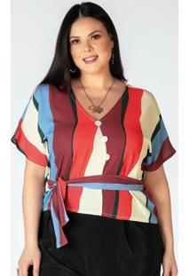 Blusa Plus Size Listrada Com Faixa