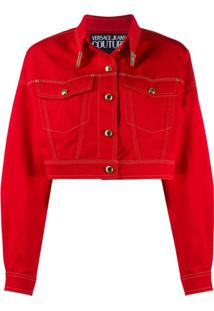 Versace Jeans Couture Jaqueta Jeans Cropped Com Costura Contrastante - Vermelho