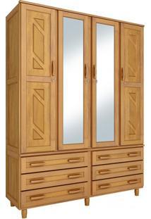 Guarda-Roupa Paris Casal Mel Com Espelho 4 Portas Madeira Maciça De Pinus Cavazotto