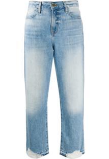 Frame Calça Jeans Cropped Destroyed Fullerton - Azul