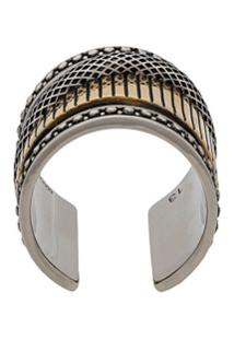 Alexander Mcqueen Mechanical Two-Tone Ring - Prateado