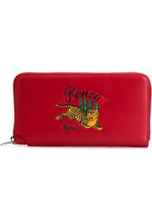 Kenzo Carteira De Couro Com Bordado - Vermelho