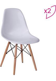 Jogo De Cadeiras Eames Dkr- Branco & Madeira- 2Pã§S